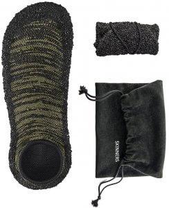 Skinners Socken - Sockenschuhe Draufsicht und eingerollt mit Beutel